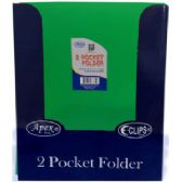 144 Units of 2 Pocket Folders, With Prongs, Asst. Colors, in Display