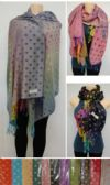 36 Units of Fashion Pashmina Scarf with Fringe--Color Fade Polka Dots