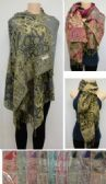 36 Units of Fashion Pashmina Scarf with Fringe--Lg Paisley with Metallic
