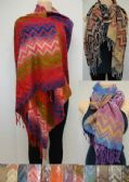 36 Units of Fashion Pashmina Scarf with Fringe-Color Fade Chevron