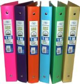 48 Units of 1 Inch Poly Binder, Clear Line,Asst Neon Colors in display - Clipboards and Binders