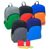 24 Units of 15 Inch Backpack & Basic School Supply Kit - 5 Colors