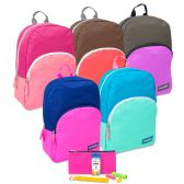 """24 Units of Preassembled Backpack & Basic School Supply Kit - Bright Colors - Backpacks 15"""" or Less"""