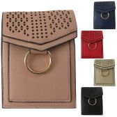 36 Units of Laser Cut Design Two Pocket Vertical Cell Phone Cross Body Bag With An Accent Ring - Shoulder Bags & Messenger Bags