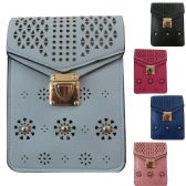 36 Units of Vertical Two Pocket Cell Phone Cross Body Bag With Laser Cut Design With Studs And Buckle Closure - Shoulder Bags & Messenger Bags