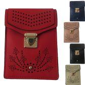 36 Units of Unique Laser Cut Design Double Pocket Mobile Phone Cross Body Bag - Shoulder Bags & Messenger Bags