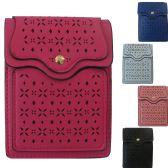 36 Units of Faux Leather Dual Pocket Cross Body Cell Phone Bag Featuring An Overlay Laser Cut Design. - Shoulder Bags & Messenger Bags