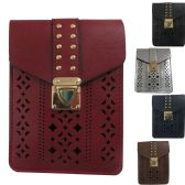 36 Units of Laser Cut And Studded Dual Pocket Cell Phone Cross Body Bag With A Buckle Closure - Shoulder Bags & Messenger Bags