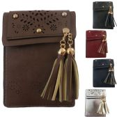 36 Units of Vertical Mobile Phone Cross Body Bag Featuring A Laser Cut Design With Studs And An Accent Tassel. - Shoulder Bags & Messenger Bags