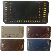 36 Units of One Zip Wallet With Laser Cut Design Edging And Contrast Background - Leather Purses and Handbags