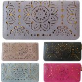 36 Units of One Zip Wallet With Laser Cut Designs And Gold Background Contrast - Leather Purses and Handbags