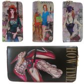 36 Units of Vivid Digital Image One Zip Wallet In Assorted Fashion Prints - Leather Purses and Handbags