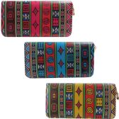 36 Units of Aztec Inspired One Zip Digital Image Wallet In Assorted Colors - Leather Purses and Handbags