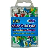48 Units of 100 Count Assorted Color Push Pins - Push Pins and Tacks