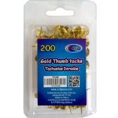48 Units of Thumb tacks, gold, 200 ct., reusable box - Push Pins and Tacks