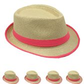 24 Units of ASSORTED COLOR BAND FEDORA HAT
