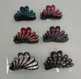 """72 Units of 3.5"""" Claw Clip [Polka Dot Peacock Tail]"""