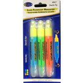 48 Units of 3 Pack Fluorescent highlighters Assorted Colors - Markers and Highlighters