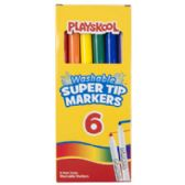 48 Units of Playskool Markers 6ct Super Tip Washable In Color Window Box - Markers and Highlighters