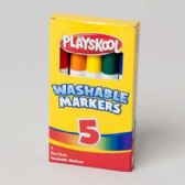 72 Units of Markers 5ct Broadline Washable Playskool - Markers and Highlighters