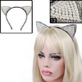 288 Units of FAUX PEARL & GEMSTONE CAT EARS HEADBANDS. - Costume Accessories