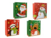 144 Units of Medium Christmas Gift Bags W/Glitter - Christmas Gift Bags and Boxes