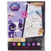 72 Units of Paint Kit Little Pet Shop Coloring Board,6 Paints,1 Brush - Paint and Supplies