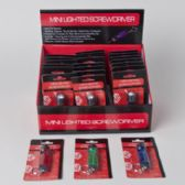 96 Units of Screwdriver Mini Lighted 3in Keychain 3 Asst Colors/ Blister 24 Pc Pdq - Screwdrivers and Sets