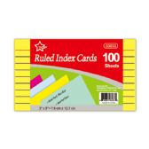 "96 Units of Index cards 3x5""/100 count colored"