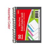 96 Units of Ruled index cards book 50 count poly cover - Labels ,Cards and Index Cards