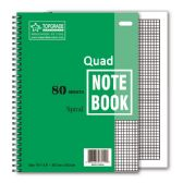 96 Units of 80 count quad ruled spiral book