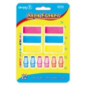 96 Units of Twelve Count Eraser Assorted Colors - Erasers