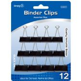 96 Units of Binder clip black assorted size - Clips and Fasteners