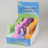 96 Units of Pedicure Paddle W/bath Pouf Set 4ast Color/24pc Pdq Hba Hngtag Lime Green/hot Pink/purple/orng