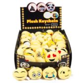 144 Units of Keychain Emoticon Plush Faces 6 Asst 72pc