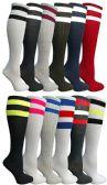 12 Units of Womens Referee Knee High Socks, Neon Striped Colorful Cheerleader Sock