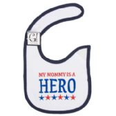 144 Units of Baby Bib My Mom Is A Hero 12.5 X 8 Cotton