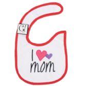 144 Units of Baby Bib I Love Mom 12.5 X 8 Cotton - Baby Accessories