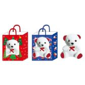 "96 Units of 5"" X'mas bear in window bag - Christmas Gift Bags and Boxes"