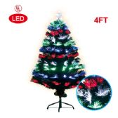 4 Units of 4 Foot optical fiber tree 1's pre-lit LED UL - Christmas Ornament