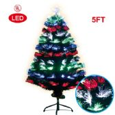 5 Foot optical fiber tree pre-lit LED UL - Christmas Ornament