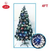 4 Units of 4 Foot optical fiber tree pre-lit LED UL - Christmas Ornament