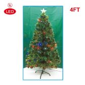 2 Units of 4 Foot optical fiber tree pre-lit LED UL - Christmas Ornament