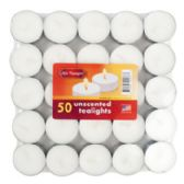 24 Units of Candle Tealight 50pk Unscented Shrink Wrapped Brick
