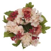 48 Units of Pink Hydrangea Candle Ring Measures 8in - CANDLE ACCESSORIES