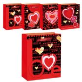 "96 Units of V-day 3D bag 13x18x5.5""/Xtra Large - Valentine Gift Bag's"