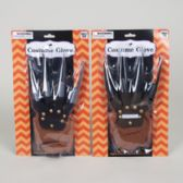 48 Units of Costume Glove W/soft Plastic Blade Fingers Silver Or Black Hall Blister Card