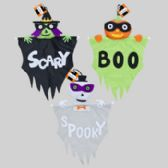 72 Units of Halloween Whimsy 3ast Puffy Head Hanging Decor W/banner
