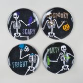 72 Units of 4 Asst 8in Round Partying Skeletons Dessert Plate