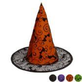 96 Units of Witch Hat Kids Organza Black 13in 2ast W/glitter Pattern Halloween